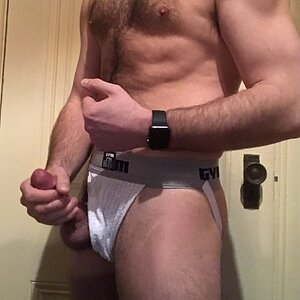 Flexing in a sweaty jock
